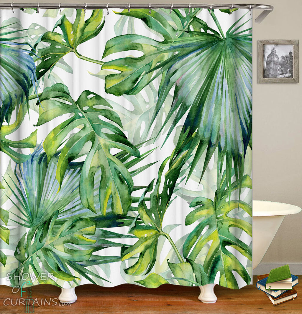 Tropical Grenn Leaves Shower Curtains Design of Green Spirit