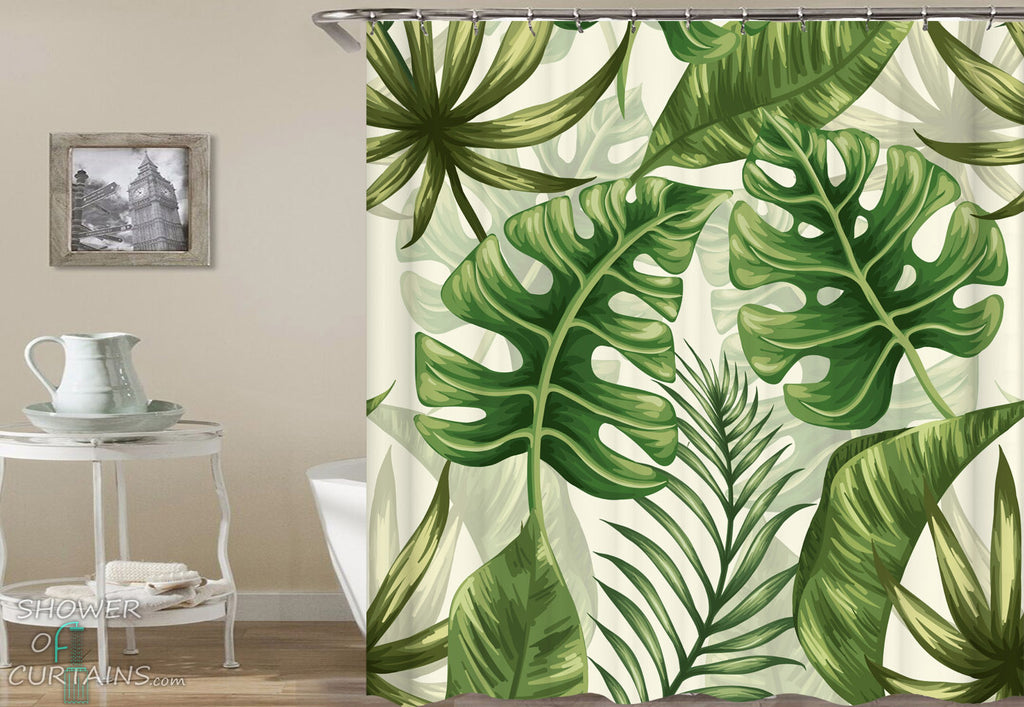 Tropical Leaf Shower Curtains of Fresh Green Shades