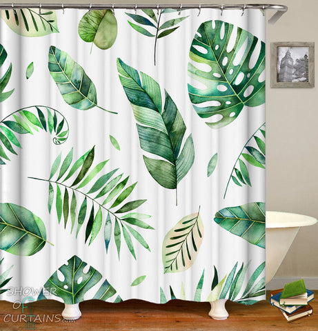 Tropical Leaf Shower Curtains of Modest Green Vibes