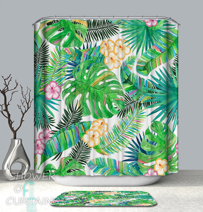 Tropical Shower Curtain of Colorful Tropical Spirit