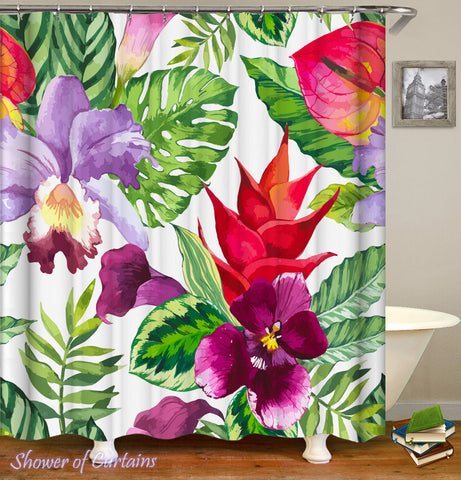 Tropical Shower Curtains - Colorful Tropical Flowers