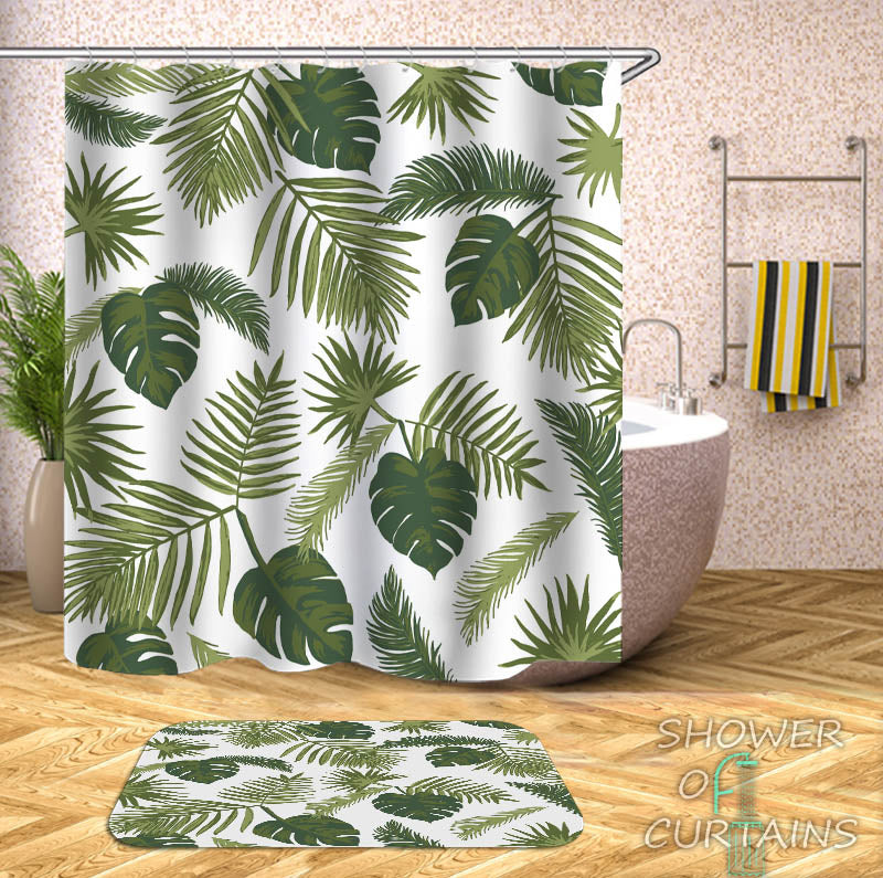 Tropical Shower Curtains - Modest Tropical Leaves Shower Curtain