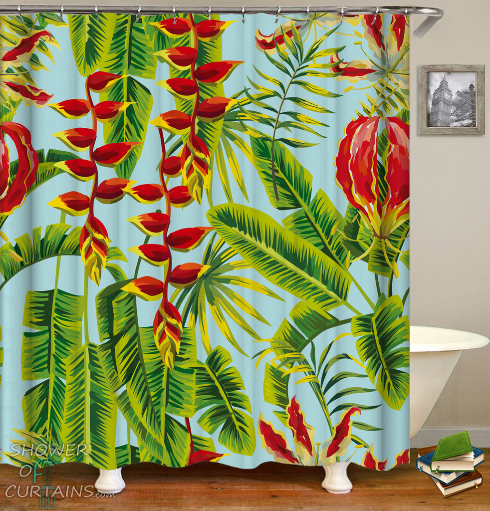 Tropical Shower Curtains - Red And Green Tropical