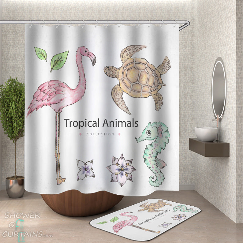 Tropical Shower Curtains - Tropical Animals Shower Curtain