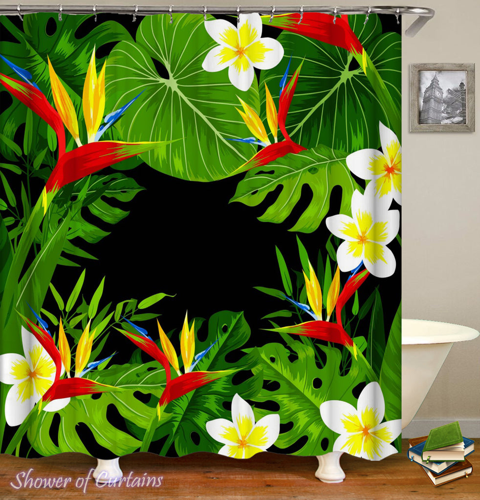 Tropical Shower Curtains - Tropical Flowers And Leaves