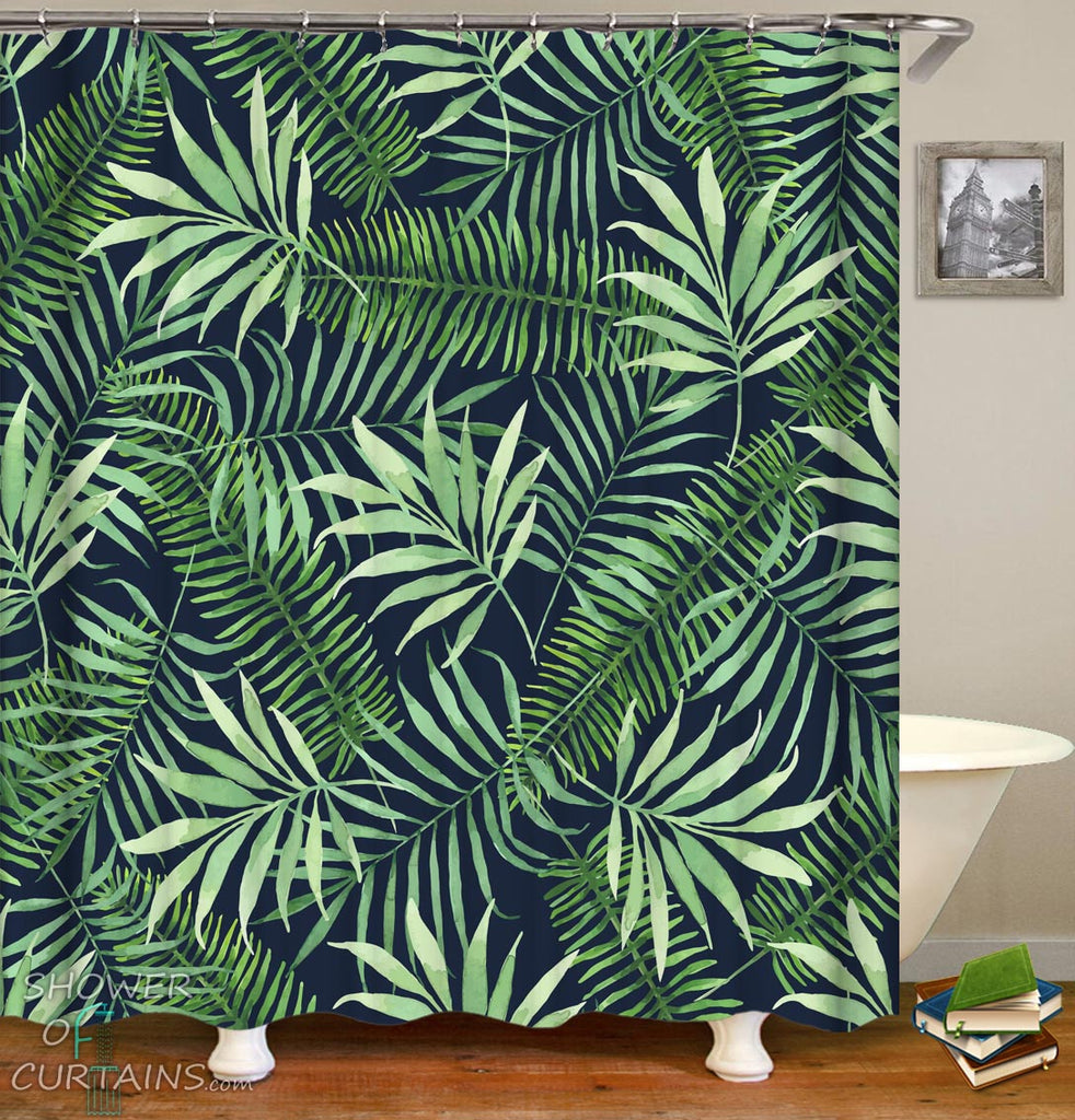 Tropical Shower Curtains - Tropical Leaves Over Black