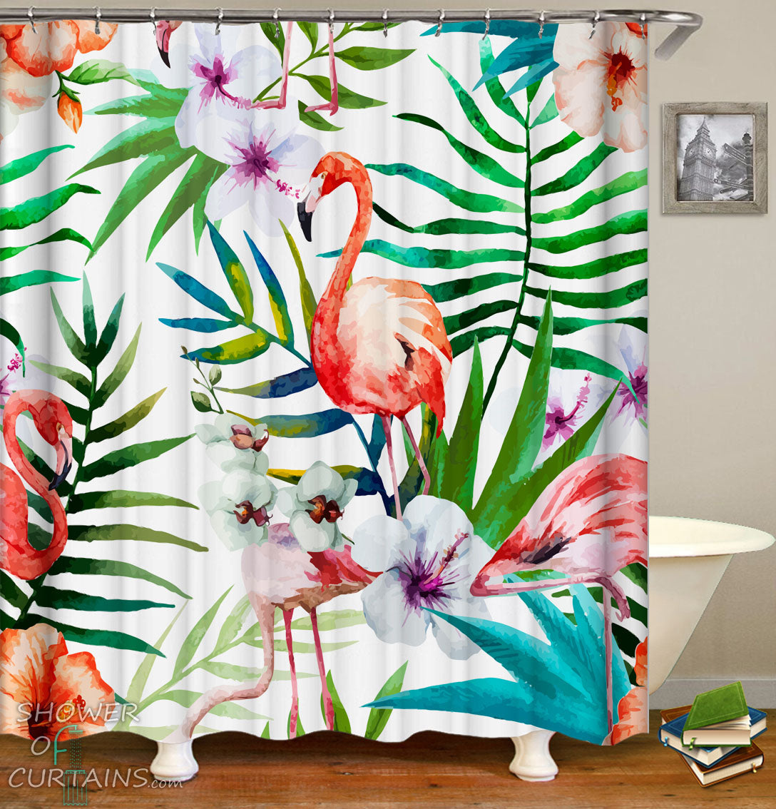 Tropical Shower Curtains Of Art Painting Flamingos Flowers
