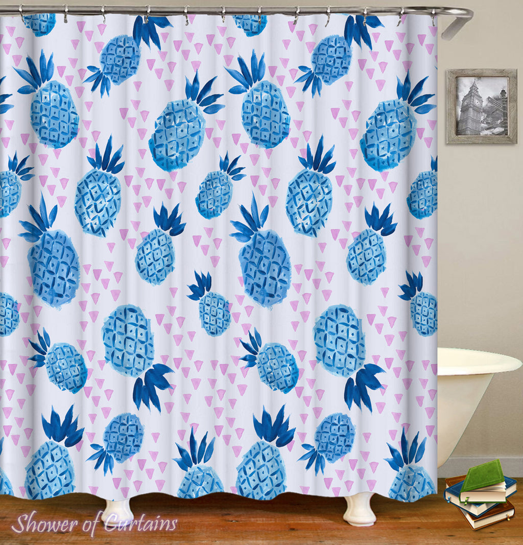 Tropical Shower Curtains of Blue Pineapple Shower Curtain Pattern