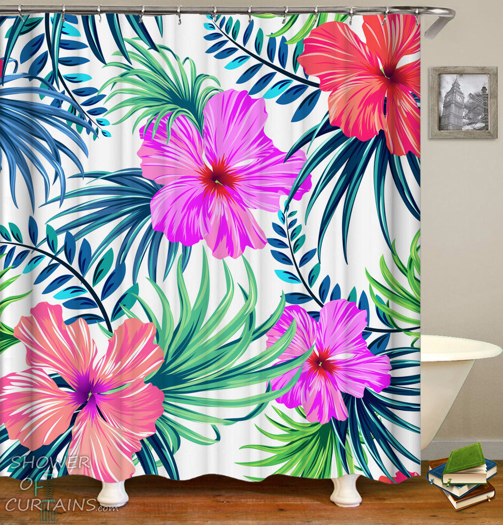 Tropical Shower Curtains of Giant Tropical Flowers