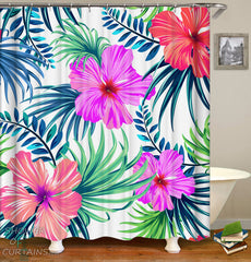 Hibiscus Shower Curtain tropical flowers