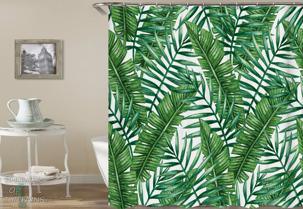 Tropical Shower Curtains of Green Tropical Leaf Shower Curtain