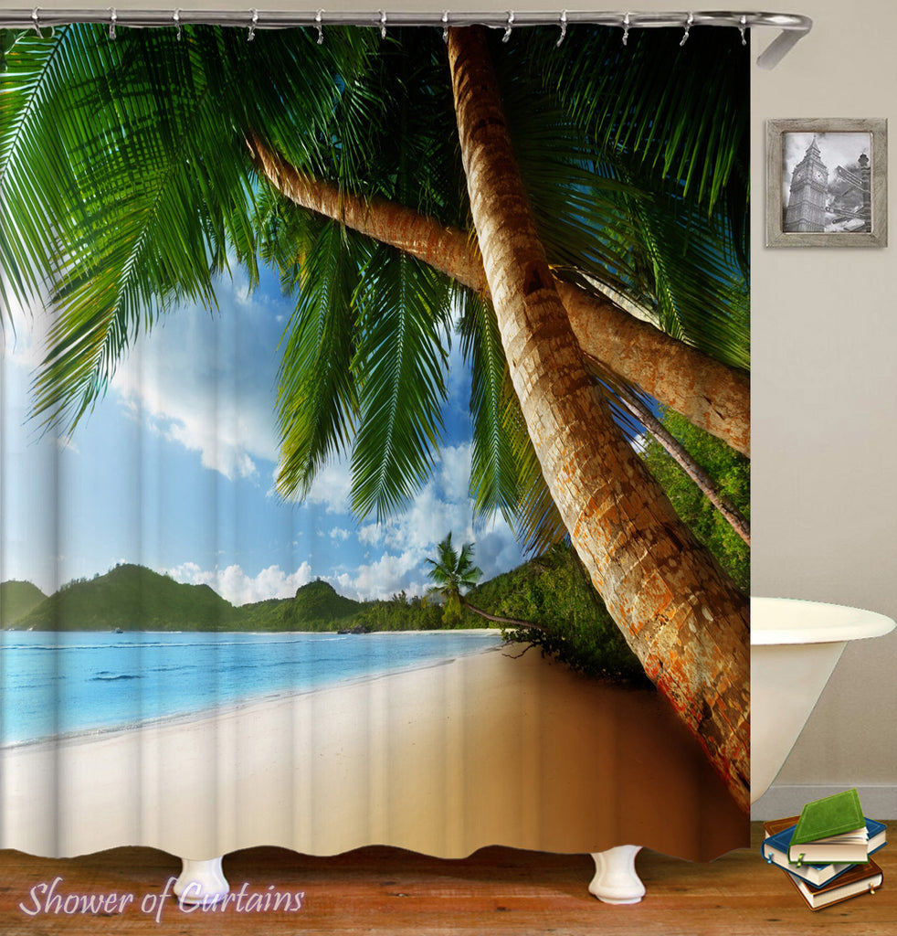 Tropical Shower Curtains of Palm Tree Shower Curtain Heaven