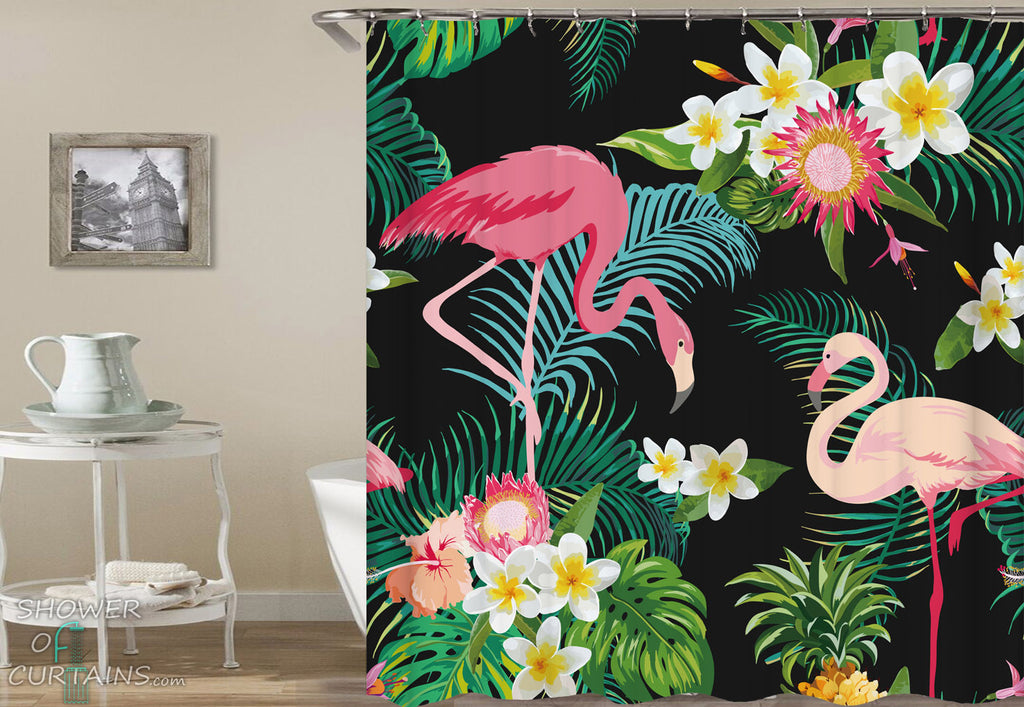 Tropical Shower Curtains of Tropical Flowers And Flamingo Shower Curtain