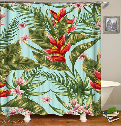 Tropical Shower Curtains of Tropical Red And Green With Plumerias (Frangipani) and Bird of Paradise
