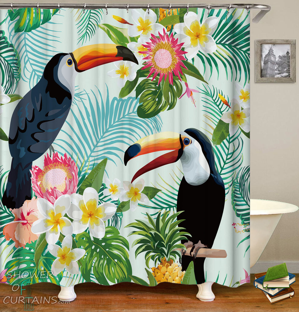Tropical Shower Curtains of Tropical Vibes Toucans And Plumeria