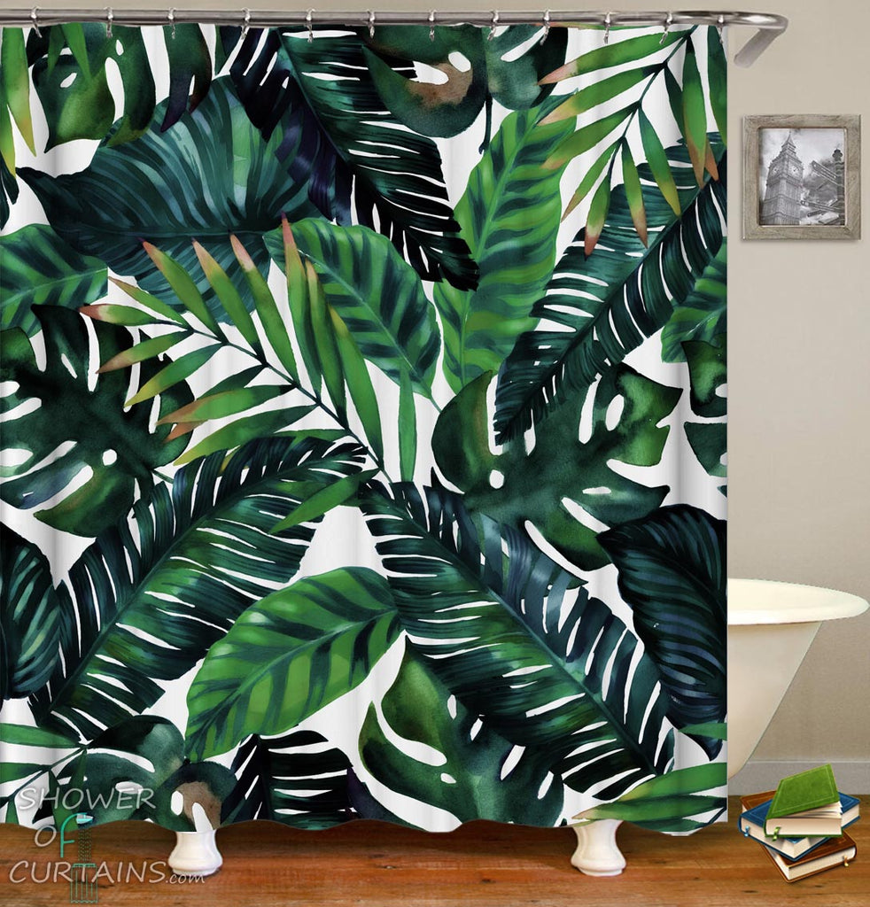 Tropical Themed Bathroom - Dark Green Palm Leaves Shower Curtain