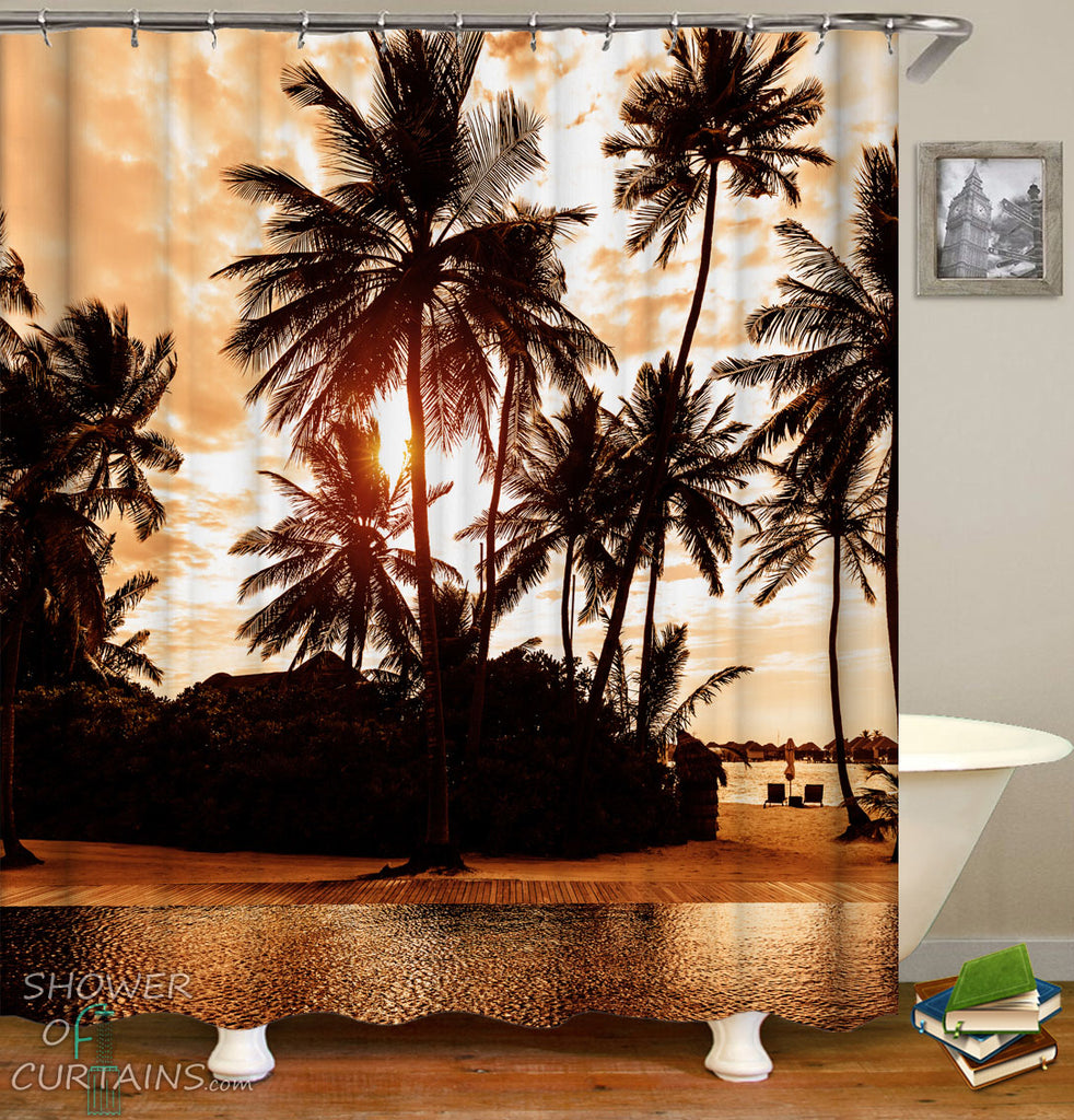 Tropical Twilight Shower Curtains Theme