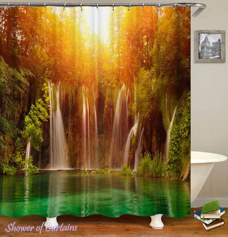 Tropical shower curtain - Sunset Over The Hidden Lake shower curtain