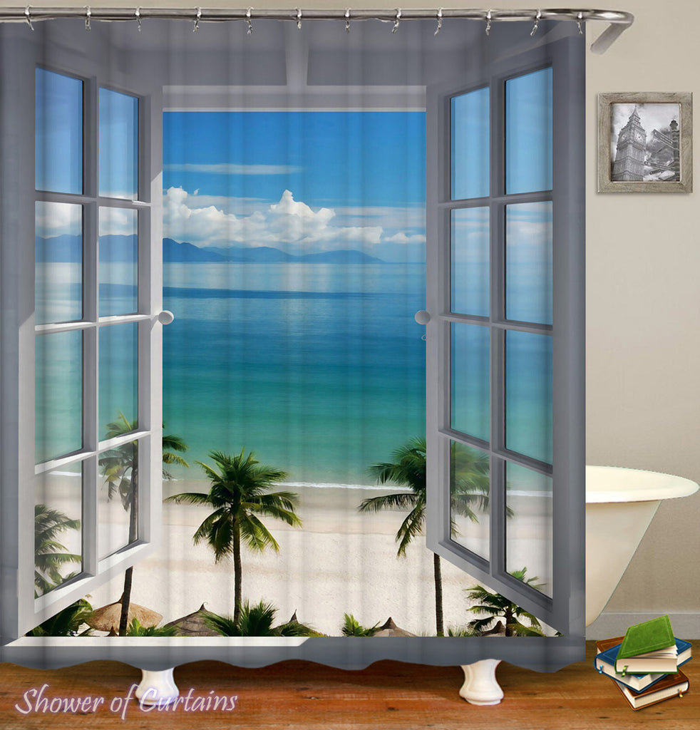 Tropical shower curtains - A Window To Paradise