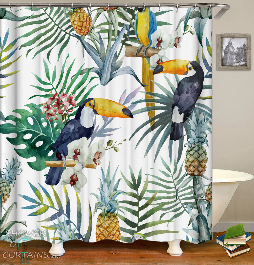 Tropicals Shower Curtains of Toucans ft Pineapples Painting
