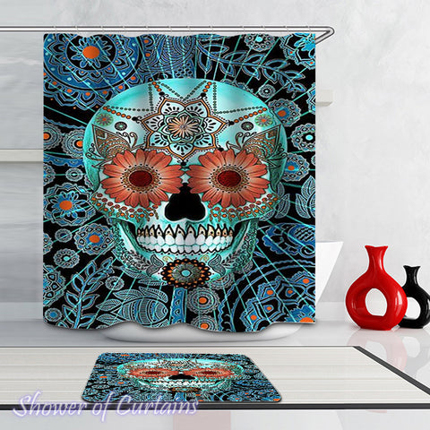 Turquoise Mandala Skull - mandala shower curtains