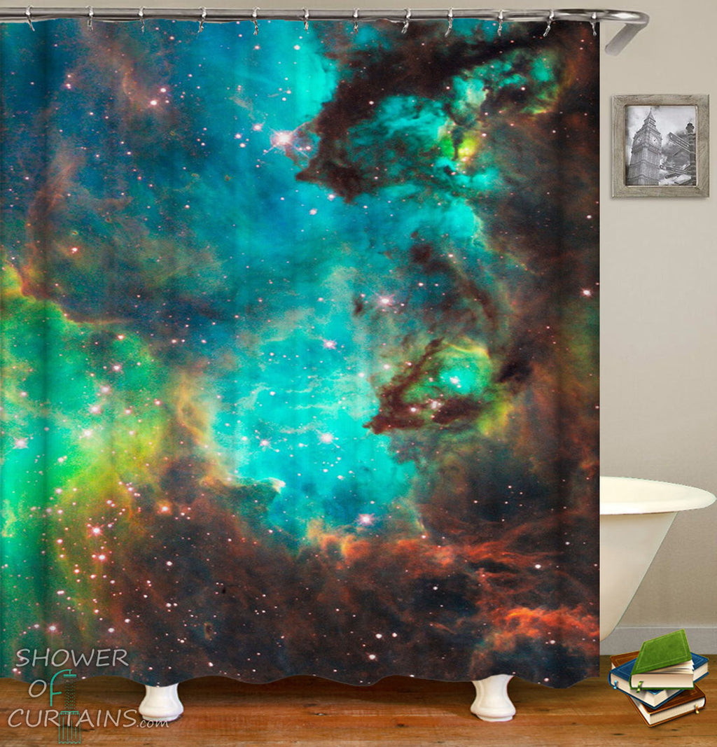 Turquoise Space Shower Curtain