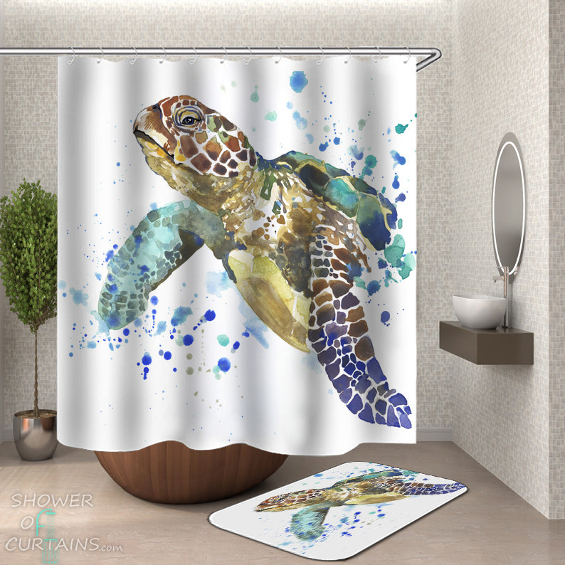 Turtle Shower Curtain - Art Painting Nautical Shower Curtains