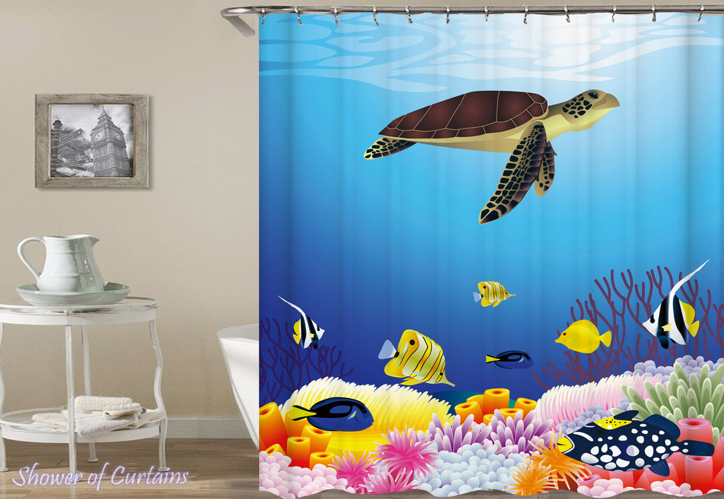 Turtle Swims In The Reef shower curtains