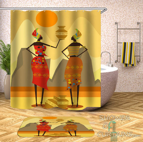 Two African Women Shower Curtain