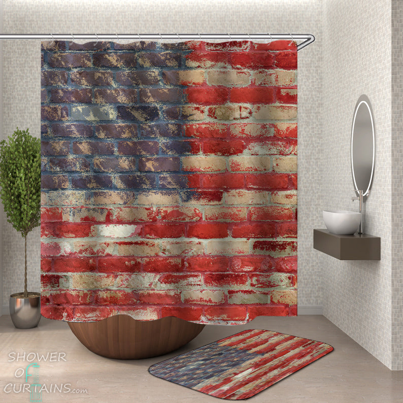 USA American Flag Shower Curtain - Brick Wall American Flag