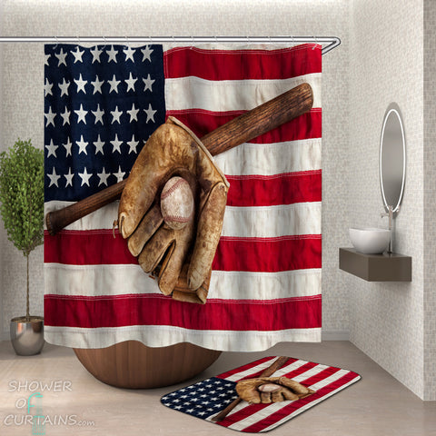 USA Love Baseball Shower Curtain