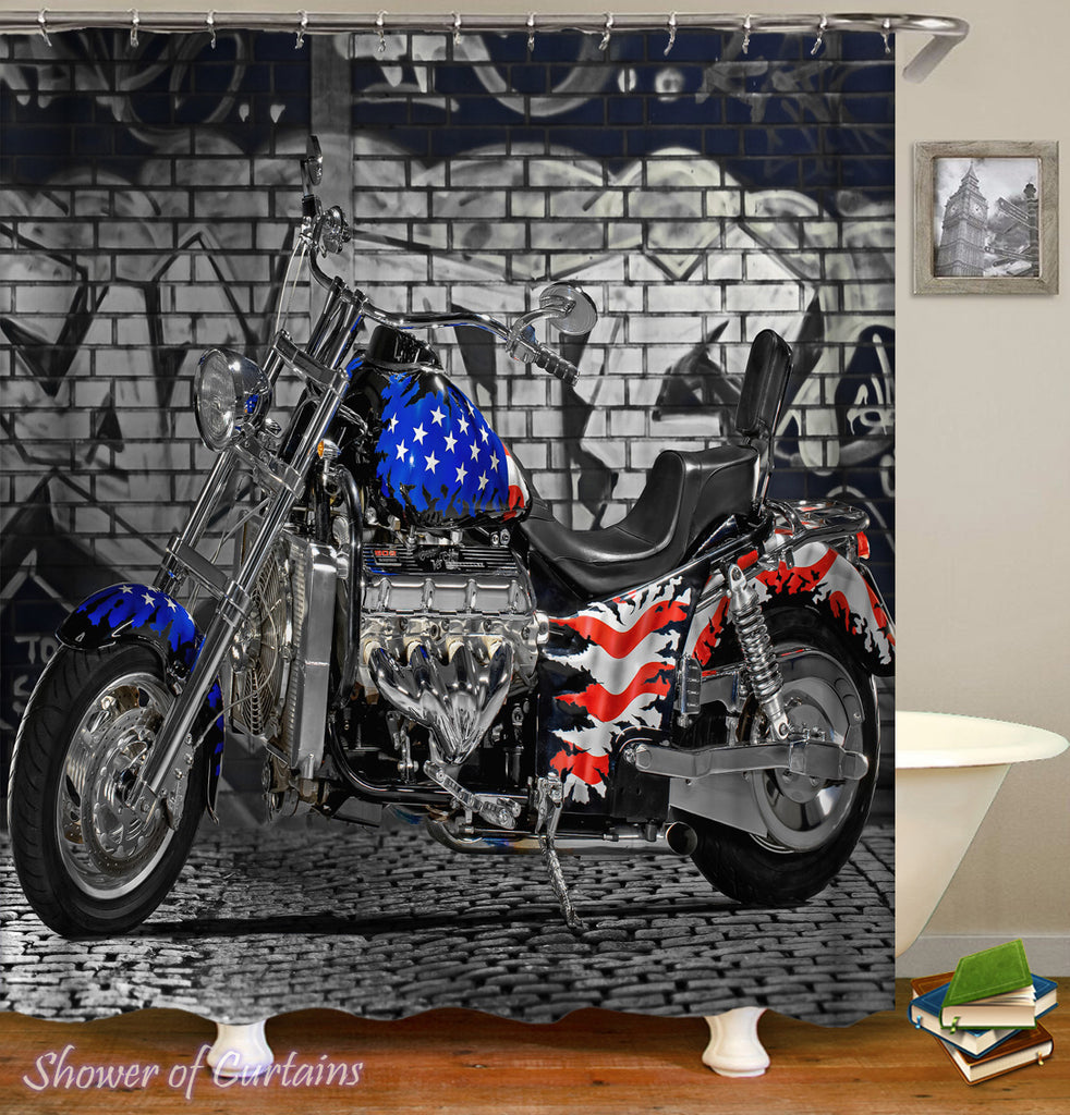 USA Motorcycle shower curtain