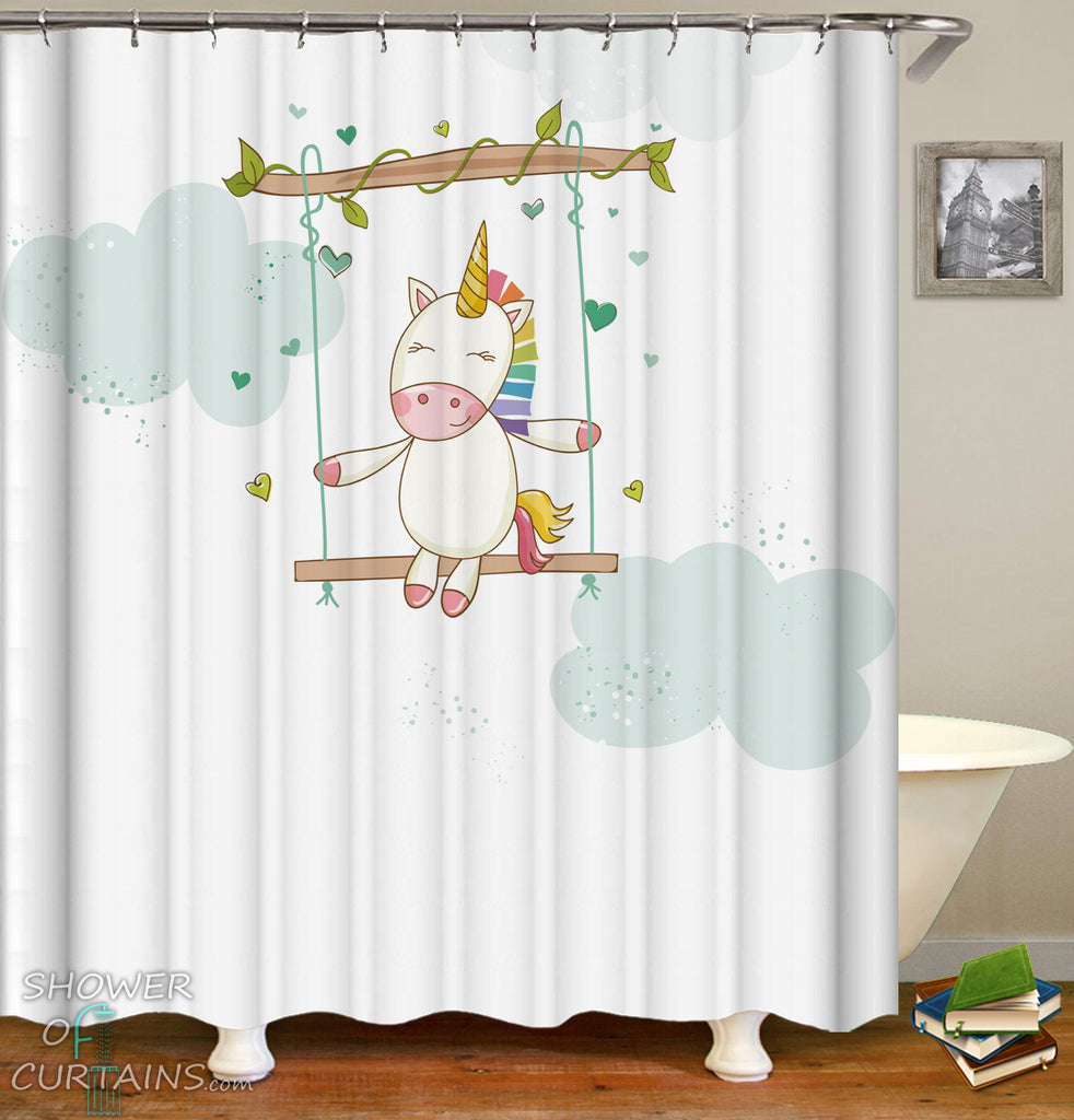 Unicorn Shower Curtain - Adorable Unicorn Rainbow Shower