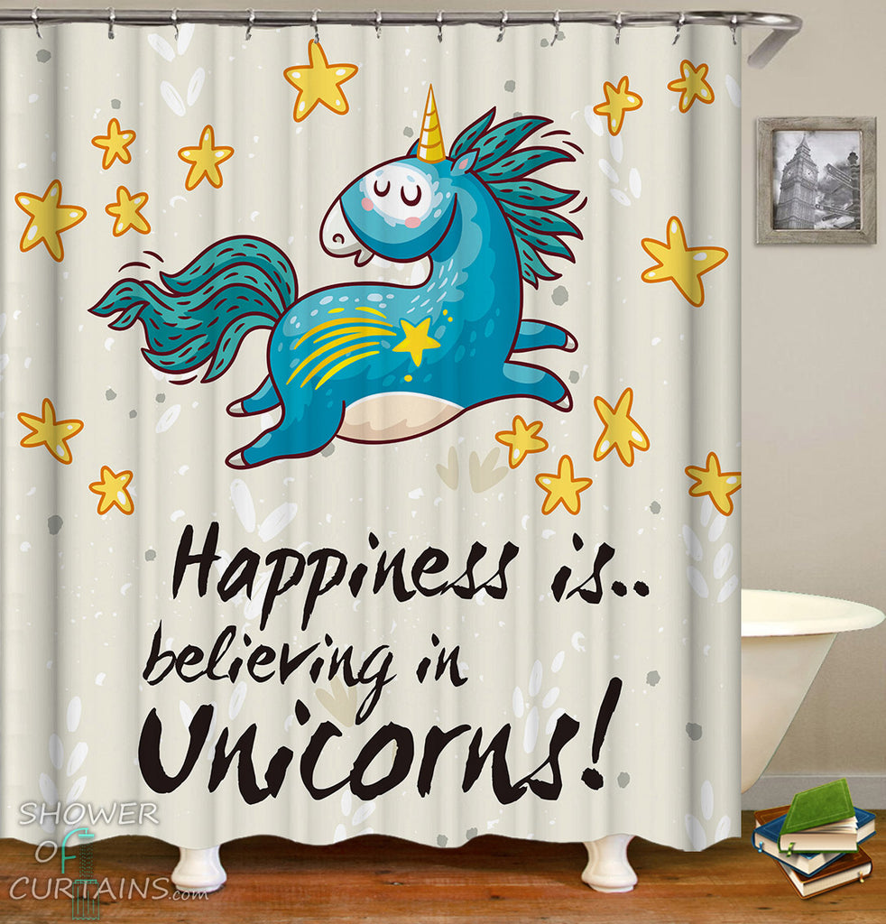 Unicorn Shower Curtains of Unicorn And Stars