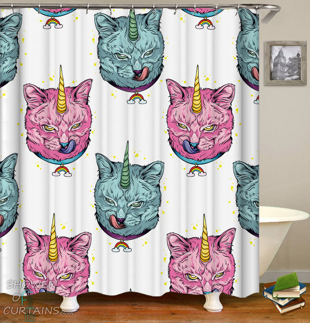 Unicorns Cats Shower Curtains - Wild Cat Unicorn