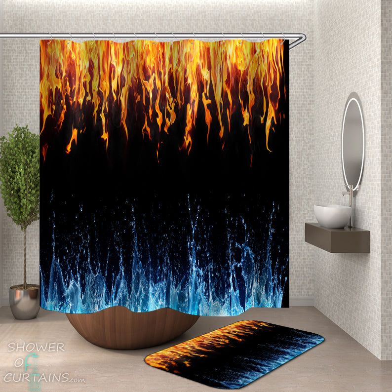 Unique Shower Curtains of Water VS Fire Shower Curtain and Bath Mat