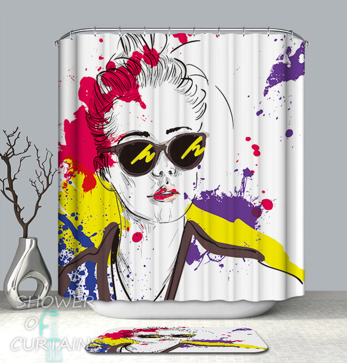 Urban Art Shower Curtain of Urban Lady Drawing Multi Colored Splashes