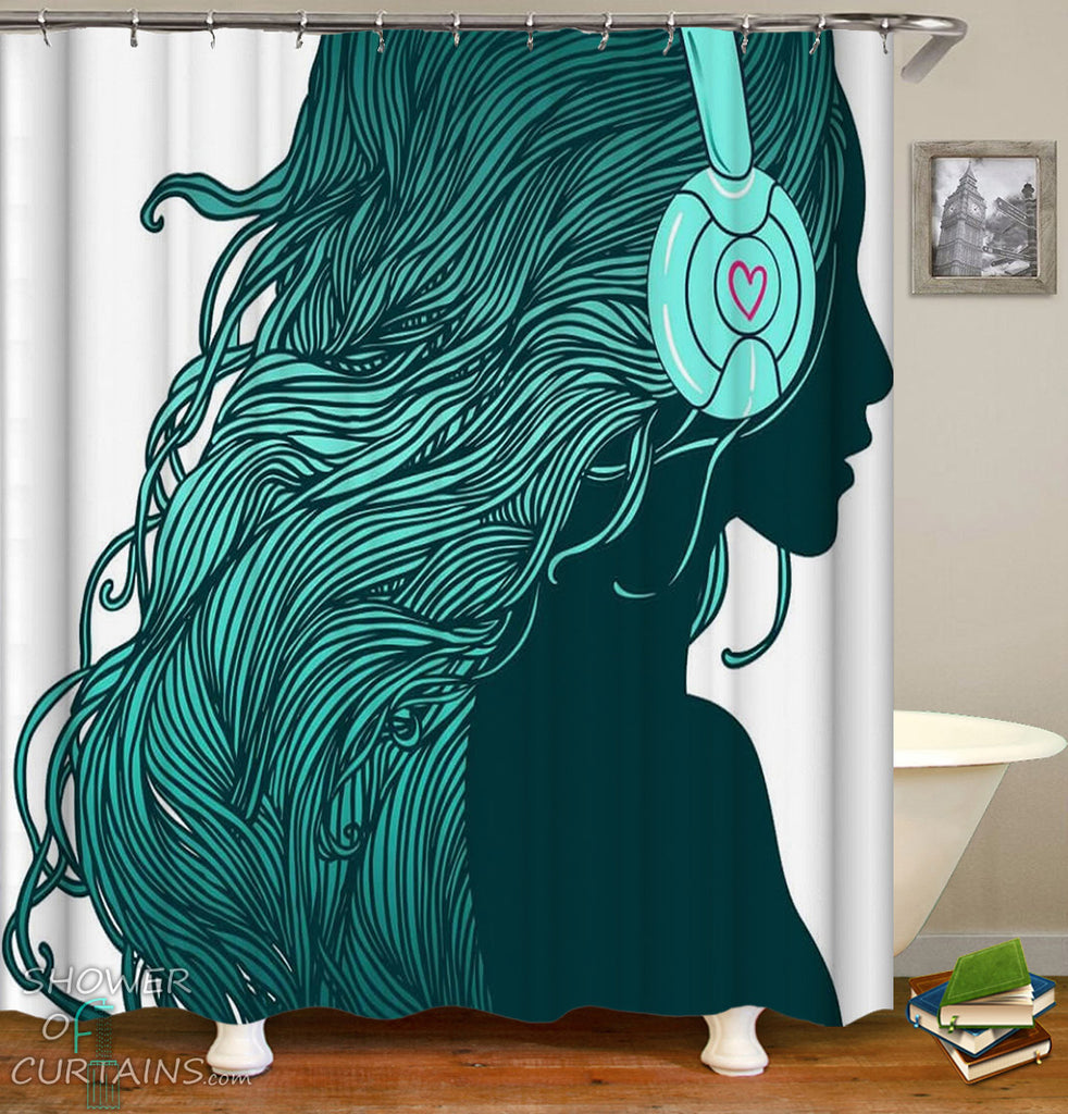 Urban Turquoise Girl Shower Curtain