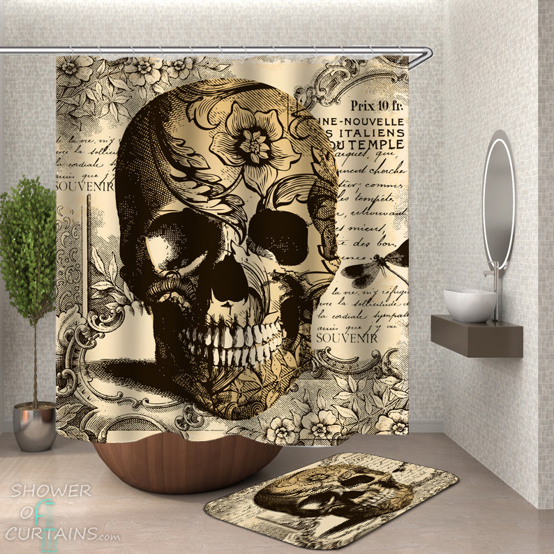 Vintage Skull Shower Curtain - Skull Bath Mat