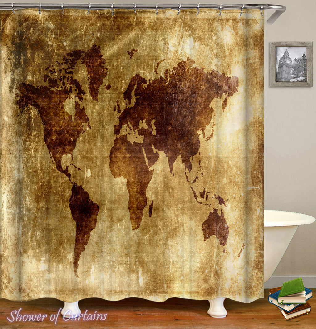 Vintage World Map Shower Curtains - Old Leather Sheet World Map