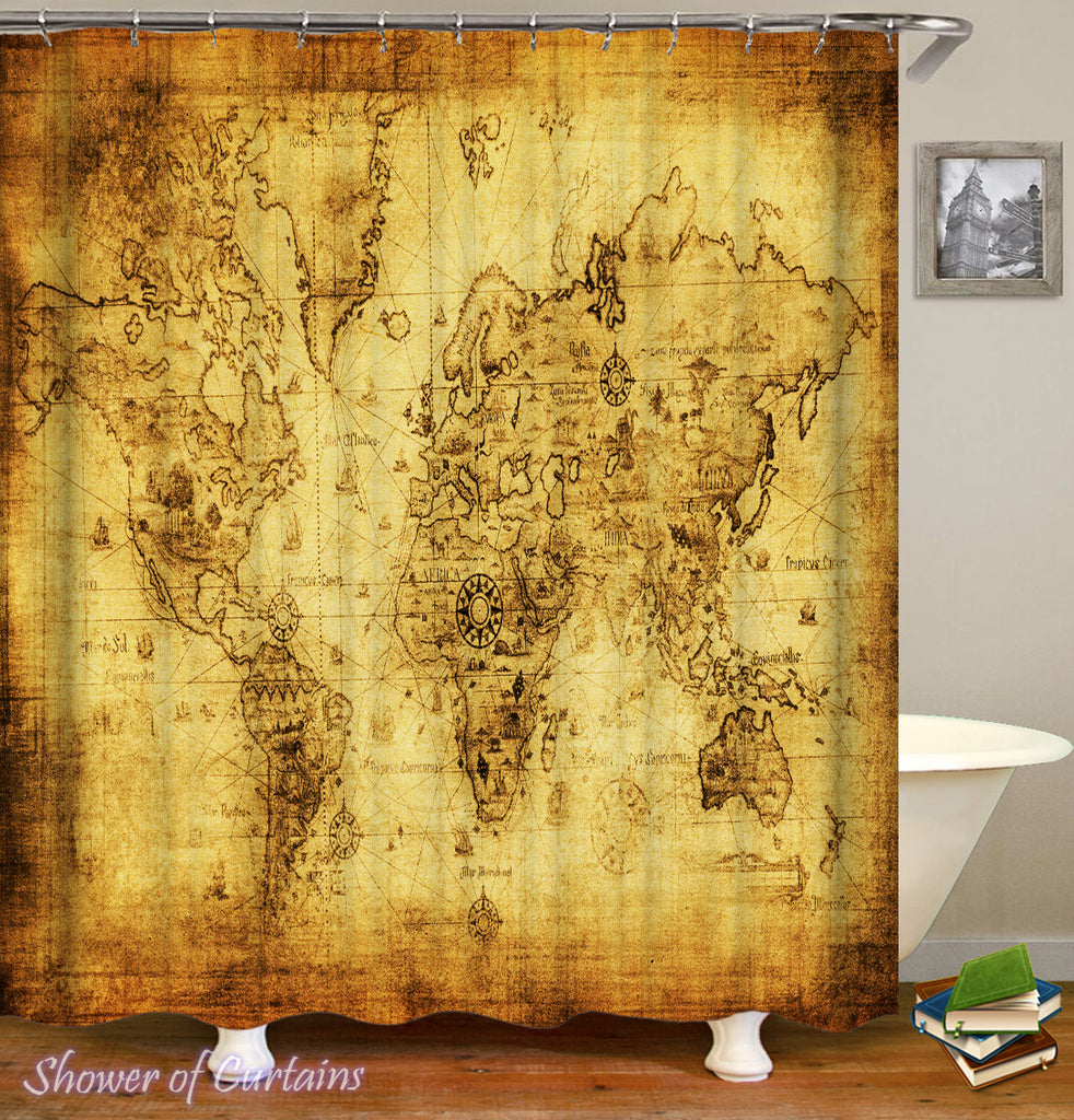 World map shower curtain collection shower of curtains vintage world map shower curtain gumiabroncs Gallery