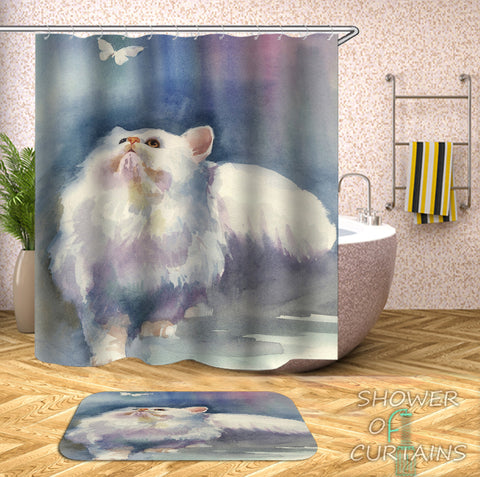 Water Painting Cat Shower Curtain Art