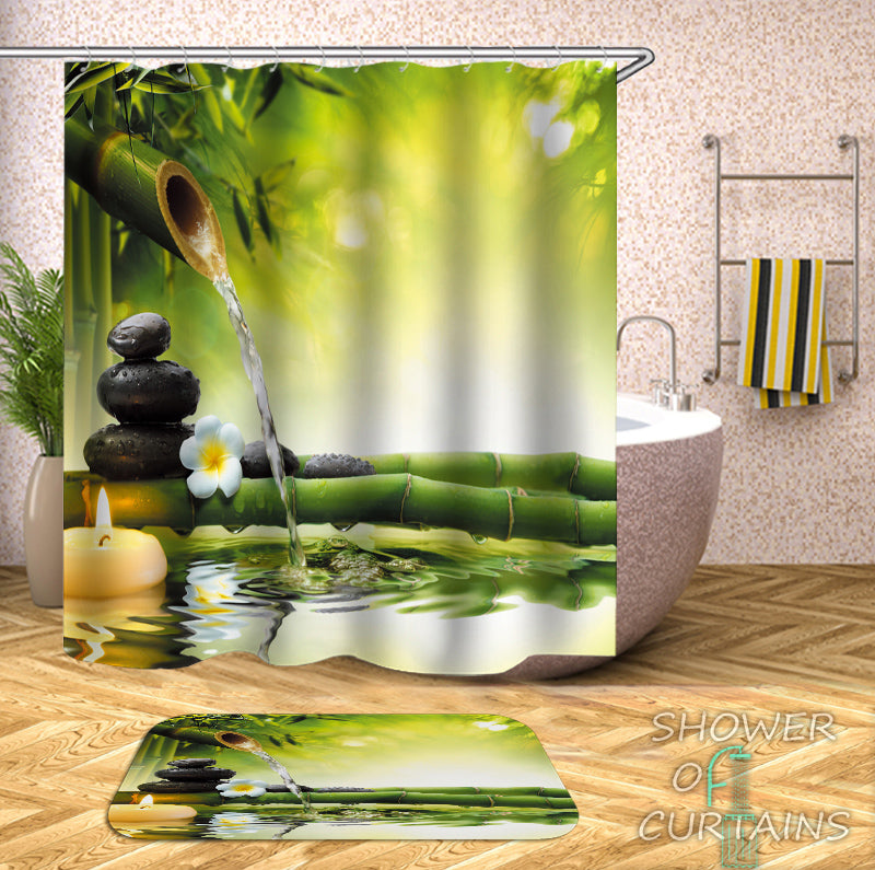 Water Trickle Bamboo Shower Curtain