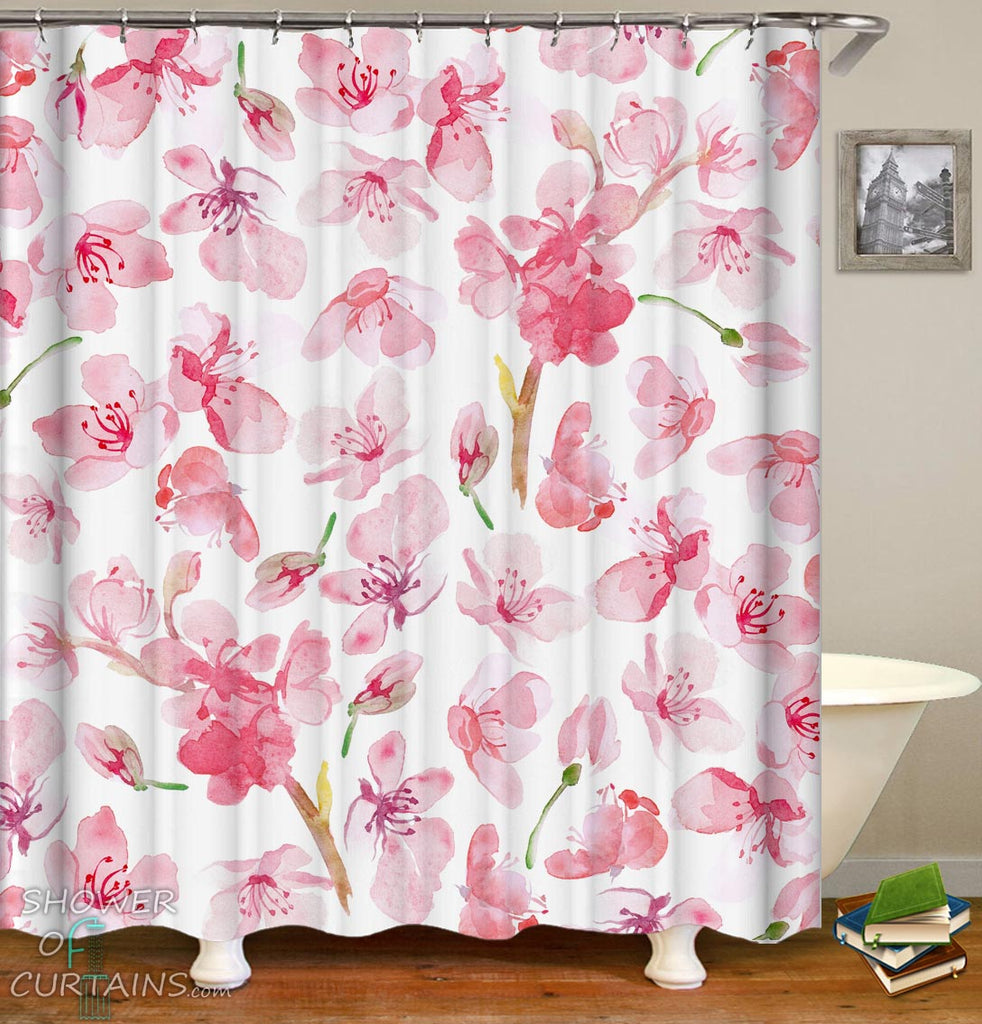 Watercolor Pink Flowers Shower Curtain - Floral Bathroom Decor