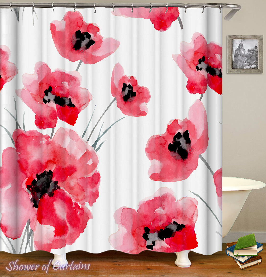 Watercolor Poppy Seed Flowers Shower Curtain