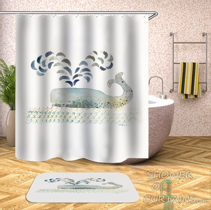 Whale Shower Curtain of Modest Whale Painting