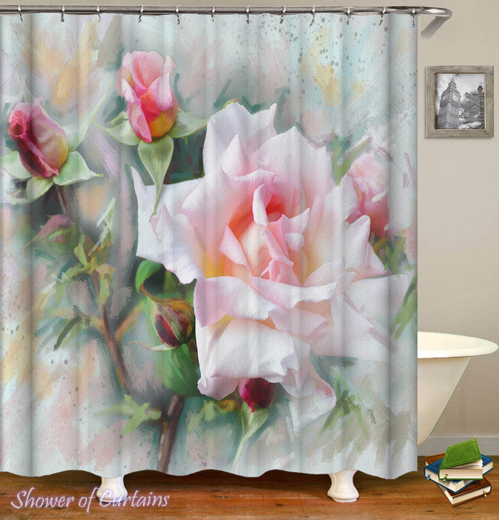 White Flower Shower Curtain - Pinkish White Roses Painting