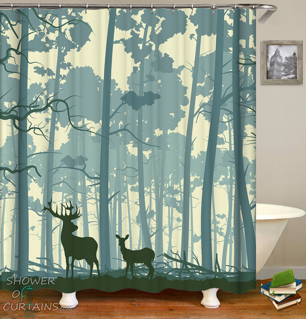 Wild Deer Shower Curtain - Forest Shower Curtain