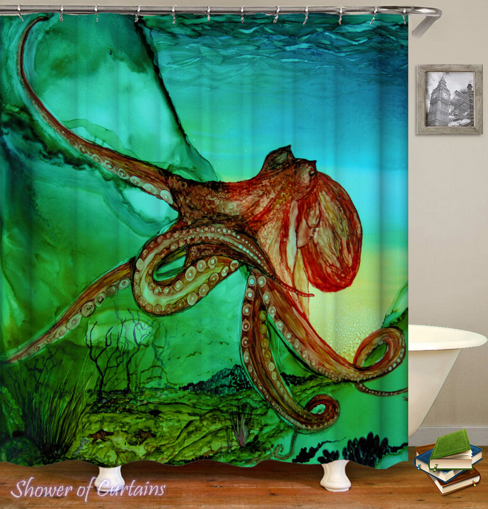 Wild Octopus Shower Curtain