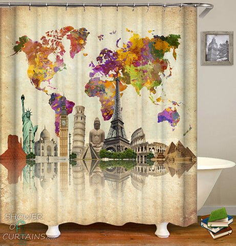 World Map Shower Curtain - World Map Attractions